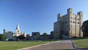 Rochester Castle - Image: Rochester Castle Keep and Bailey 0038stcp