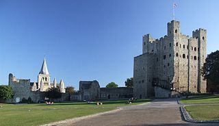 Well preserved 12th century castle in Rochester, Kent, South East England