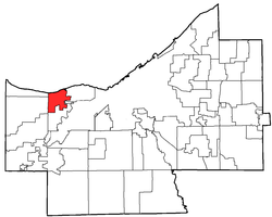 Location of Rocky River in Cuyahoga County