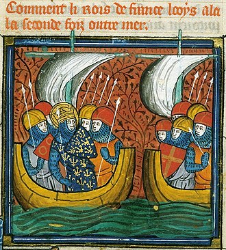 """Florent de Varennes - Florent, lord of Varennes, on the 2nd boat, with his shield """"Gules a Cross Or"""", heading to the Crusade"""