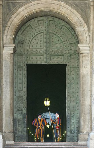 Military in Vatican City - Swiss Guard at the Bronze Door
