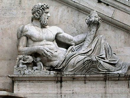 Roman representation of Tiber as a god (Tiberinus) with cornucopia at the Campidoglio, Rome Roman sculpture.jpg