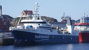 Royal Greenland - HDMS Akamalik, a Royal Greenland vessel, anchored in Sisimiut.