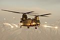 Royal Air Force Chinook helicopter firing flares over Afghanistan MOD 45158742.jpg
