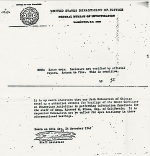English: This FBI-document of 1947 recommends ...