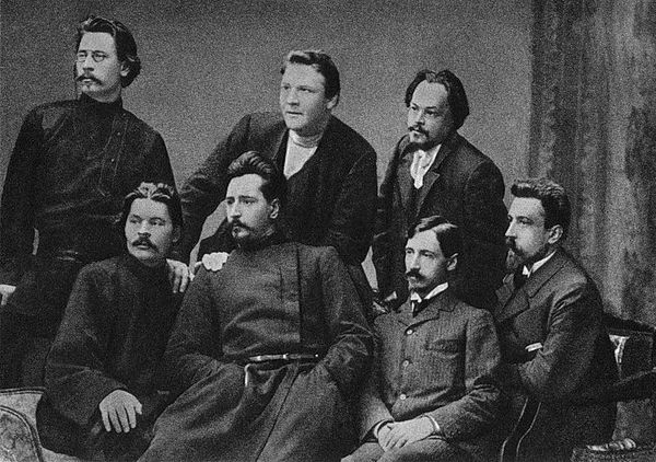 Bunin (bottom row, second from right), with fellow members of the Moscow literary group Sreda; From top left: Stepan Skitalets, Feodor Chaliapin and Yevgeny Chirikov; from bottom left: Maxim Gorky, Leonid Andreyev, Ivan Bunin, and Nikolay Teleshov. 1902