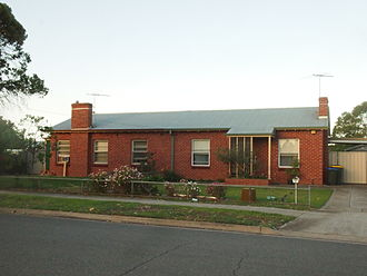 Australian residential architectural styles - South Australian Housing Trust late 1940s semi-detached cottages, showing little exterior modification of the original design