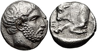 Hecatomnus - Coinage of Hekatomnos, with effigy of the Satrap. Circa 392/1-377/6 BC.