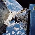 STS-31 pre-deploy check of the Hubble Space Telescope (HST) in Discovery's PLB.jpg