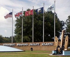 Naval Submarine Base Kings Bay - Flag display at Strategic Weapons Facility Atlantic (SWFLANT)