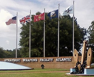 Naval Submarine Base Kings Bay - Flag display at Strategic Weapons Facility Atlantic (SWFLANT)