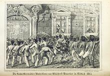 Die Sächsischen Grenadier Bataillone revoltieren vor Blüchers Quartier in Lüttich April 1815 (Quelle: Wikimedia)