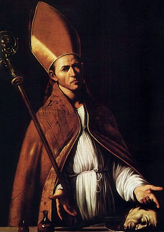 Roman Catholic Archdiocese of Benevento - Saint Januarius (in a modern depiction) was the first bishop of the diocese, until his martyrdom in 305.
