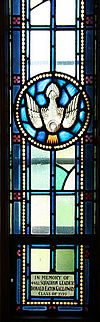 Saint Martin Protestant Chapel Yeo Hall Royal Military College of Canada memorial window to Donald Eaton Galloway dove.jpg