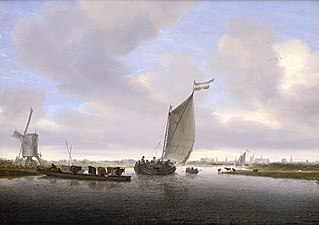 River landscape with a sailing boat and a ferry with cattle, the city of Leiden beyond