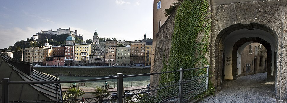 Salzburg old town with a typical narrow alleyway