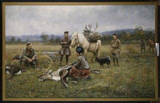 Sami Collecting Reindeer which have Been Shot