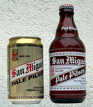 Bottle and can of beer San-Miguel selling in t...
