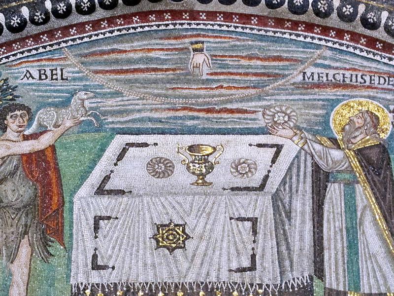 File:San vitale, ravenna, int., presbiterio, mosaici di dx 03 offerta di abele e melchidesech 03 (cropped).JPG