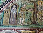 San vitale, ravenna, int., presbiterio, mosaici di sx 02 ospitalità di abramo e sacrificio di isacco 02.JPG