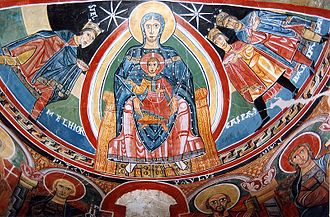 Spanish art - The apse of Santa Maria Taüll church, a Catalan fresco from Vall de Boí, province of Lleida, early 12th century. Now in the Museu Nacional d'Art de Catalunya.