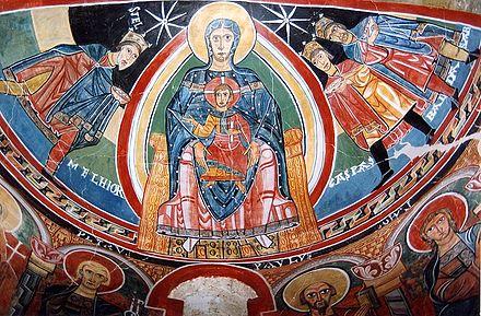 The apse of santa maria ta 252 ll church a catalan fresco in l 233 rida