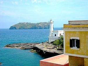 Ventotene - Ventotene Lighthouse and  Santo Stefano Island in the background
