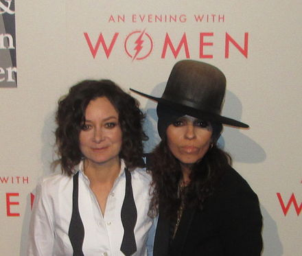 Perry with her wife Sara Gilbert at the Los Angeles LGBT Center's An Evening with Women event in 2014 Sara Gilbert and Linda Perry 2014.jpg