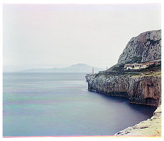 Sarah Angelina Acland - View of the Europa Point Lighthouse in Gibraltar with the African mountain Jebel Musa across the Strait, 1903