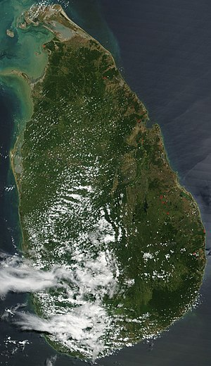 Outline of Sri Lanka - An enlargeable satellite image of Sri Lanka