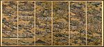 A six section folding screen depicting a large number of buildings, people and trees on a gold background. The various elements are disconnected by the gold background which covers the scene like fog.