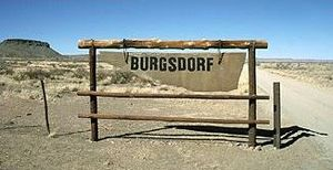 Economy of Namibia - Welcoming sign of the Burgsdorf-farm in Hardap.