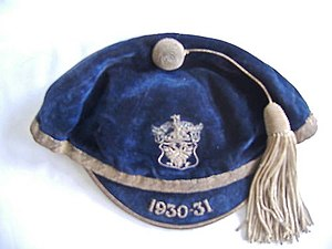 Cap (sport) - Sports cap awarded to a Perth Academy schoolboy in the UK in the 1930s