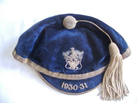 Sports cap awarded to a Perth Academy schoolboy in Scotland in the 1930s School-sport-cap-1930.jpg