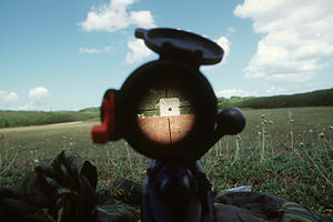 Long range shooting - View through a 20x power scope sight with mil-dots at 300 yards (274 meters).