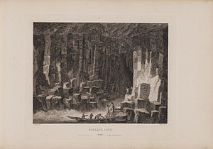Staffa - Engraving of Fingal's Cave by James Fittler in Scotia Depicta, 1804
