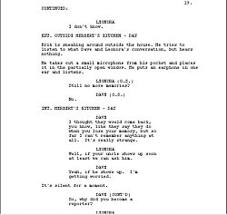 Sample from a screenplay, showing dialogue and action descriptions.