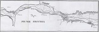 Secchia - The Secchia in an 1847 map