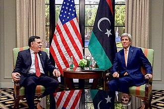 Fayez al-Sarraj - Sarraj with U.S. Secretary of State John Kerry, 16 May 2016