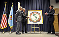 Secretary of Defense William J. Perry, left, listens as Kenneth A. LaPlante, presents the logo of the renamed William J. Perry Center for Hemispheric Defense Studies at the National Defense University at Fort McNair 130402-D-NI589-132.jpg