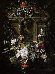 A bust portrait of a woman in a flower wreath