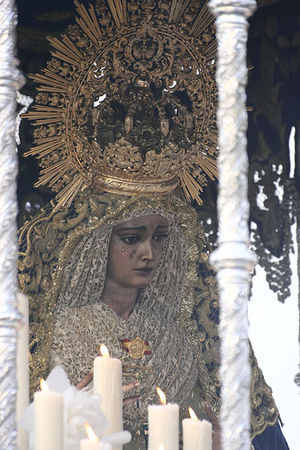 Friday of Sorrows - Regarded as the most famous in Spain during Holy Week processions, the Virgin of Hope of Macarena, shown in her sorrowful theme while wearing imperial regalia each Friday before Palm Sunday.