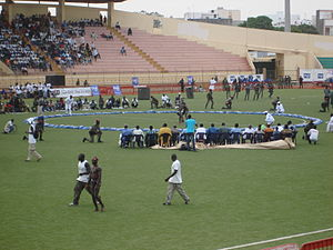Senegalese wrestling - Senegalese wrestling match at the stade Demba Diop in Dakar