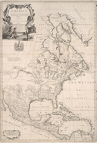 Map of North America in 1710 Senex, Price, and Maxwell North America 1710 UTA.jpg