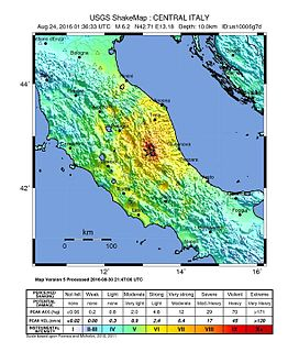 August 2016 Central Italy earthquake 6.1 or 6.2 magnitude earthquake on 24 August 2016 in the central parts of Italy