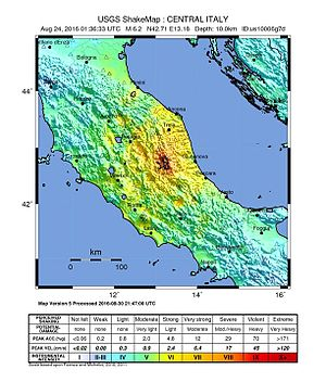August 2016 Central Italy earthquake - Image: Shakemap Earthquake 24 Aug 2016 Italy