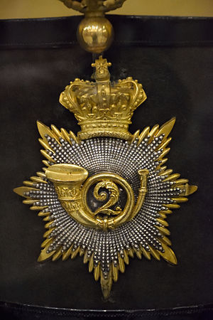 106th Regiment of Foot (Bombay Light Infantry) - Officer's shako plate of the 2nd Bombay European Regiment, 1837-1862, from the Durham Light Infantry museum