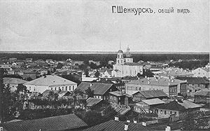 Shenkursk - Panoramic view of pre-revolutionary Shenkursk with the Holy Trinity Church (currently in ruins)