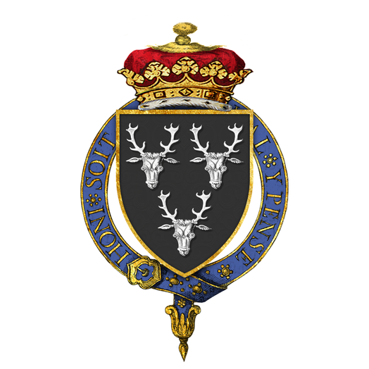 Garter-encircled shield of arms of Victor Cavendish, 9th Duke of Devonshire, KG, as displayed on his Order of the Garter stall plate in St. George's Chapel. Shield of Arms of Victor Cavendish, 9th Duke of Devonshire, KG, GCMG, GCVO, TD, PC, JP, FRS.png