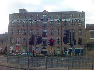 Heavy Woollen District - Machell's mungo and shoddy mill in Dewsbury has been converted to flats but retains its mill name.